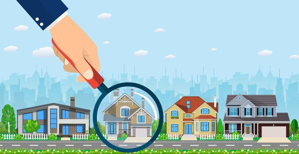 Magnifying glass with house. Real estate concept. Search for home. Vector illustration in flat style