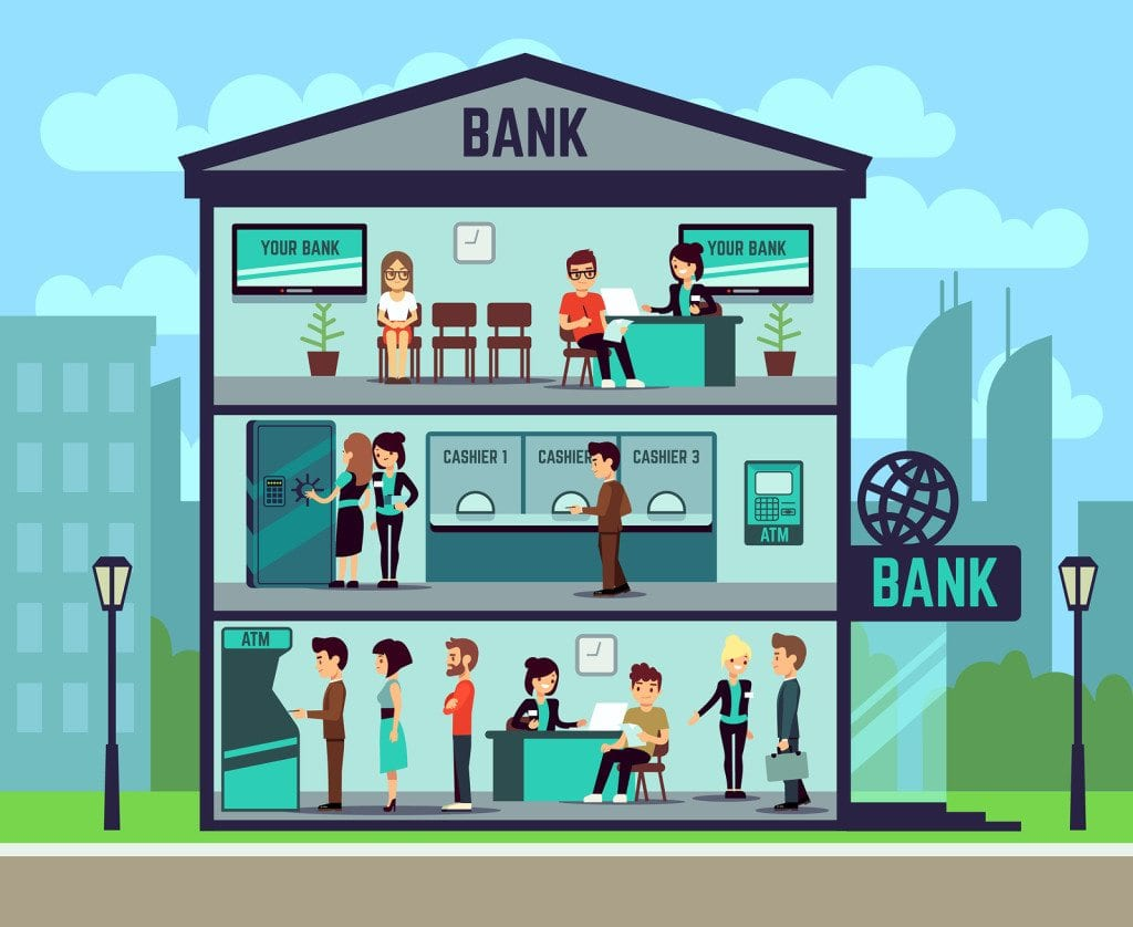 Bank building with people and bank employees in the offices. banking and finance vector concept. Interior of building bank, illustration of department bank