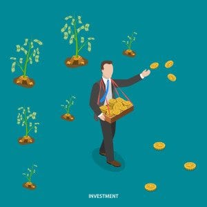 Investment isometric flat vector concept. Man is walking and sowing coins to grow money trees. Making investments, business growing, crowdfunding, financial strategy.
