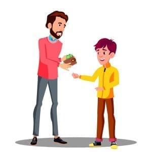 Father Gives Money From His Purse To His Son Vector. Isolated Illustration